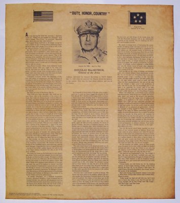 duty honor country speech On may 12, 1962, general douglas macarthur gave his farewell speech to the graduating cadets at west point his speech was simple and profound--duty, honor, country--those three hallowed words.